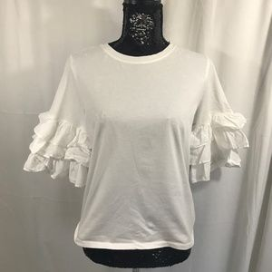 H&M White T With Ruffle Sleeves size Small